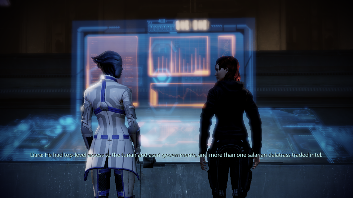 """My screenshot of Shepard and Liara in """"Mass Effect 2,"""" Lair of the Shadow Broker."""