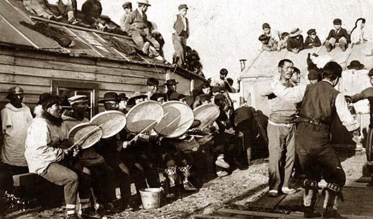 Inuit musicians.in 1900. Modern celebrations still include these instruments.