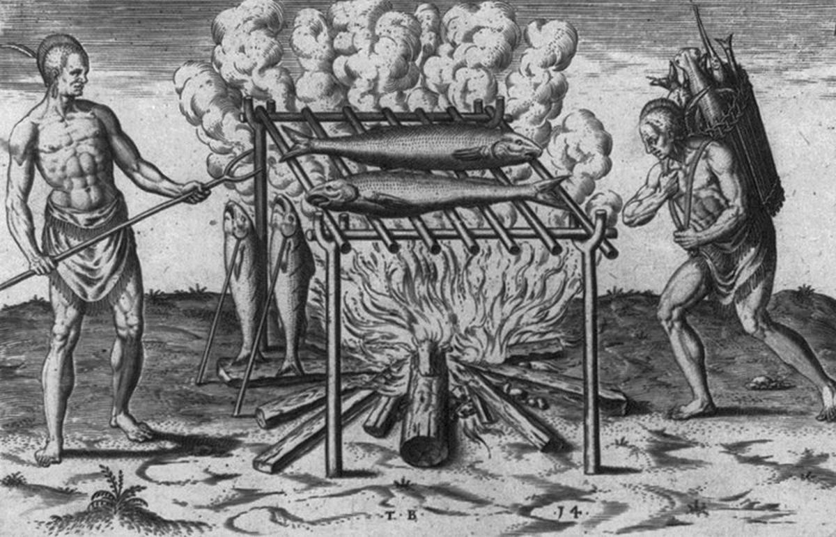 Cooking fish in what is now Virginia in 1590.