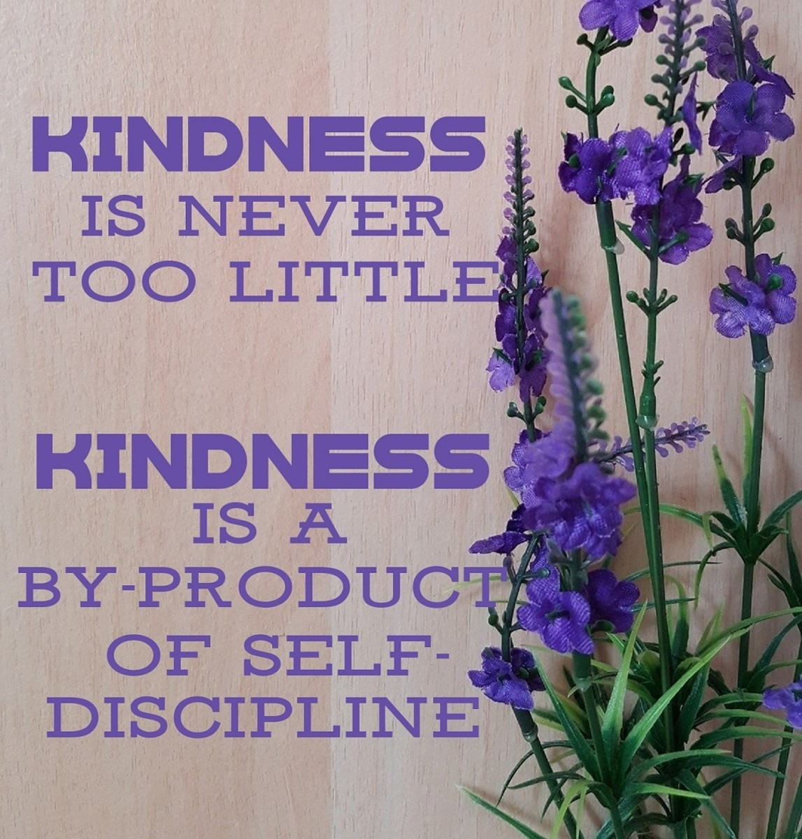 Kindness is never too little ... a by-product of self-discipline