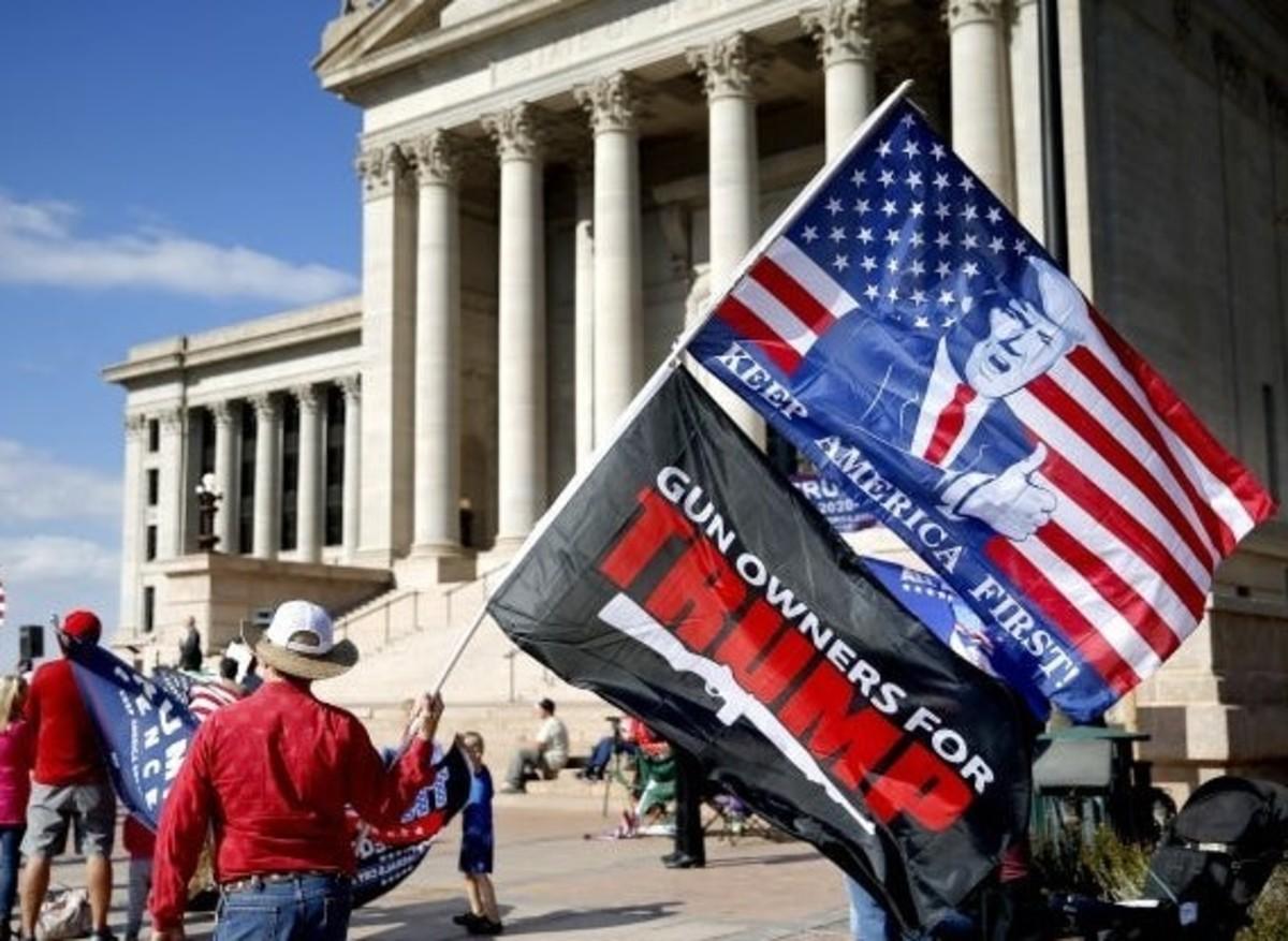 An American flag defiled.