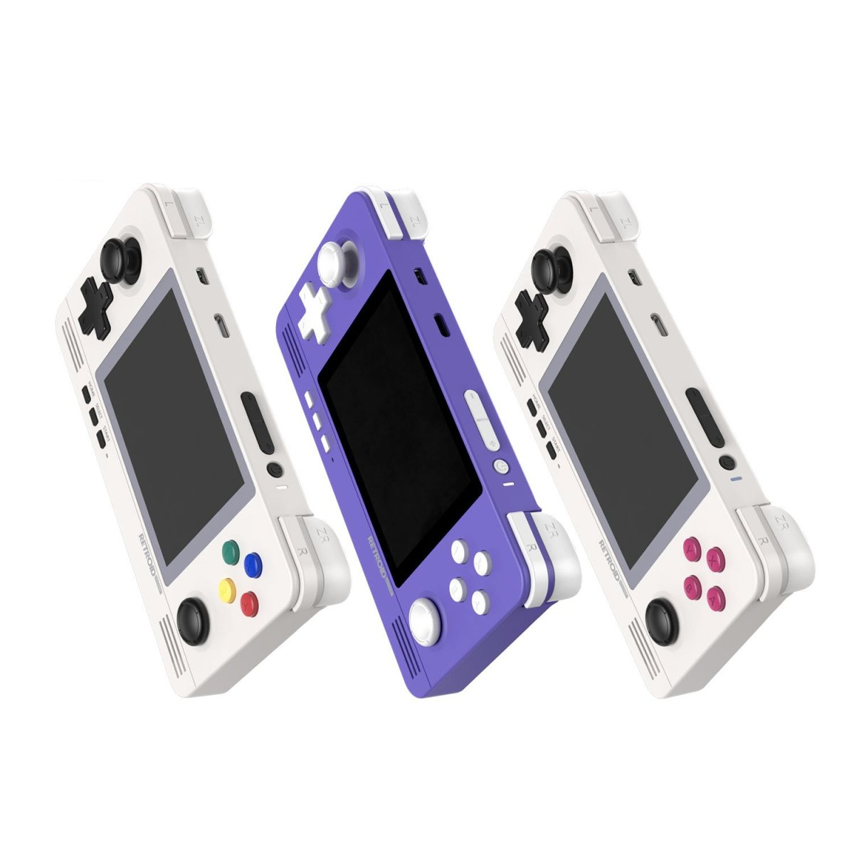 """From the left, the """"8 Bit"""", """"Indigo"""" and """"Retro"""" color options for the Retroid Pocket 2. There are up to 16 different colors."""