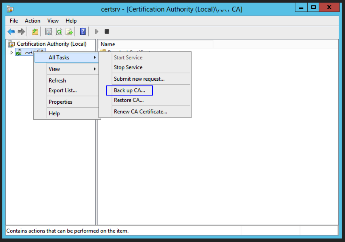 Backup the CA Certificate and Certificate Database