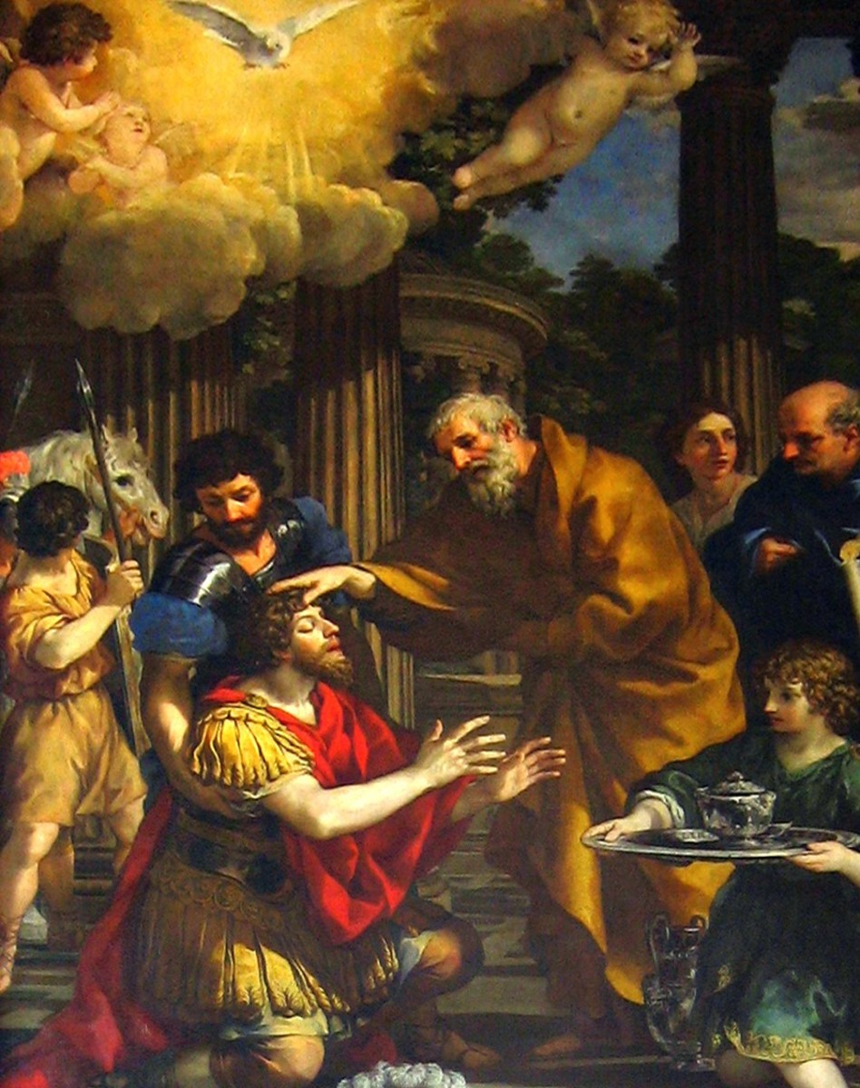 Ananias praying for Saul in Judas' house