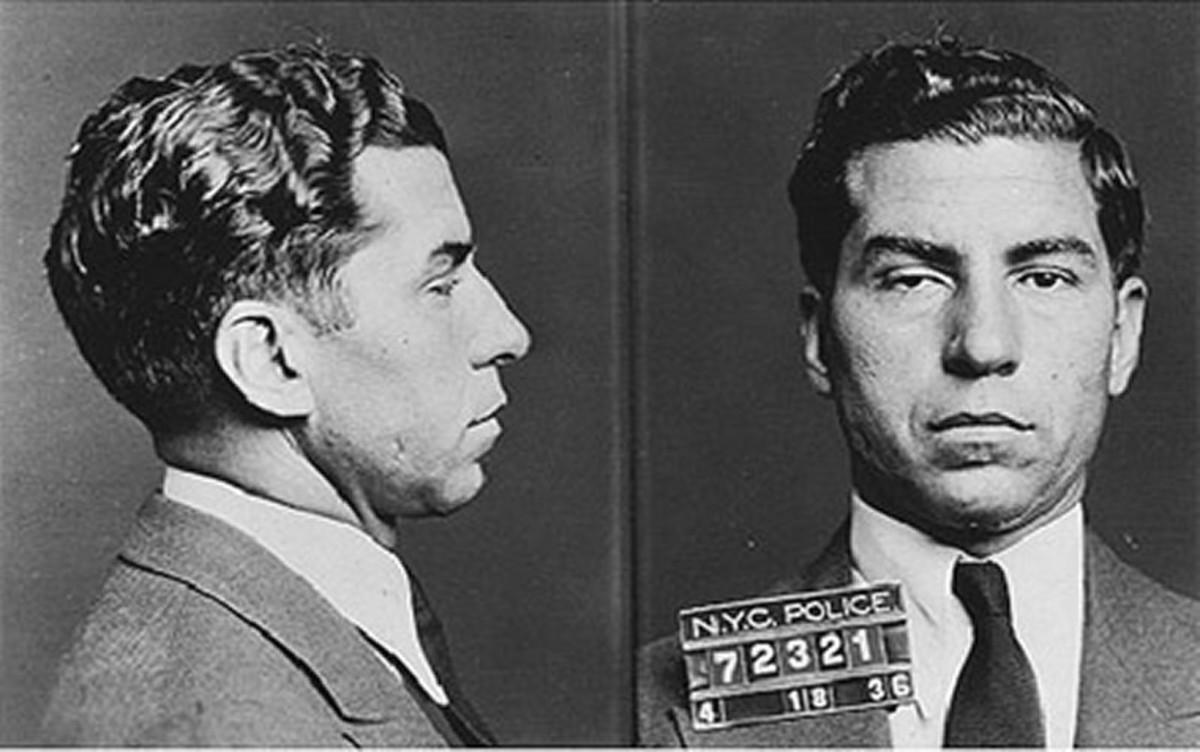"Charles ""Lucky"" Luciano mug shot, 1936 - Public Domain"