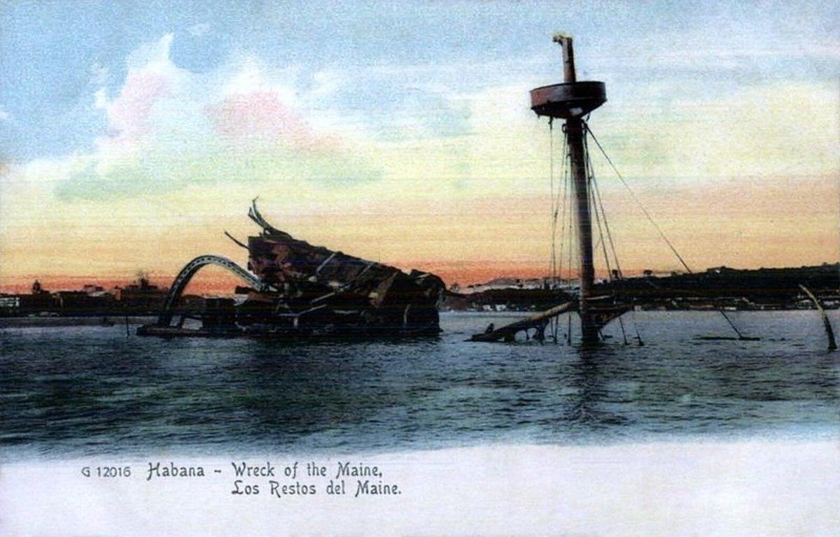 USS Maine post card - Public Domain
