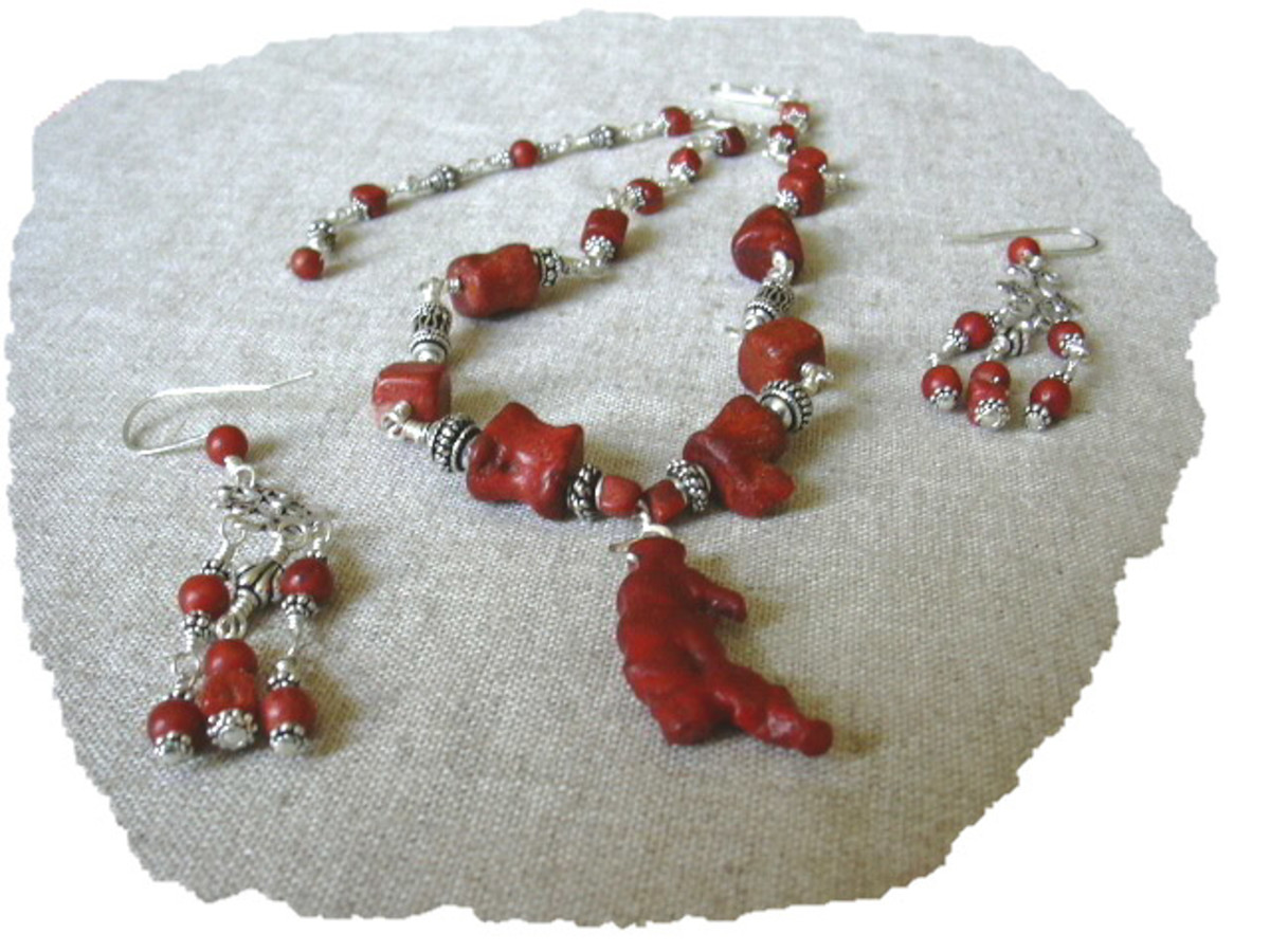 Wire wrapped dyed red sponge coral necklace and earring set