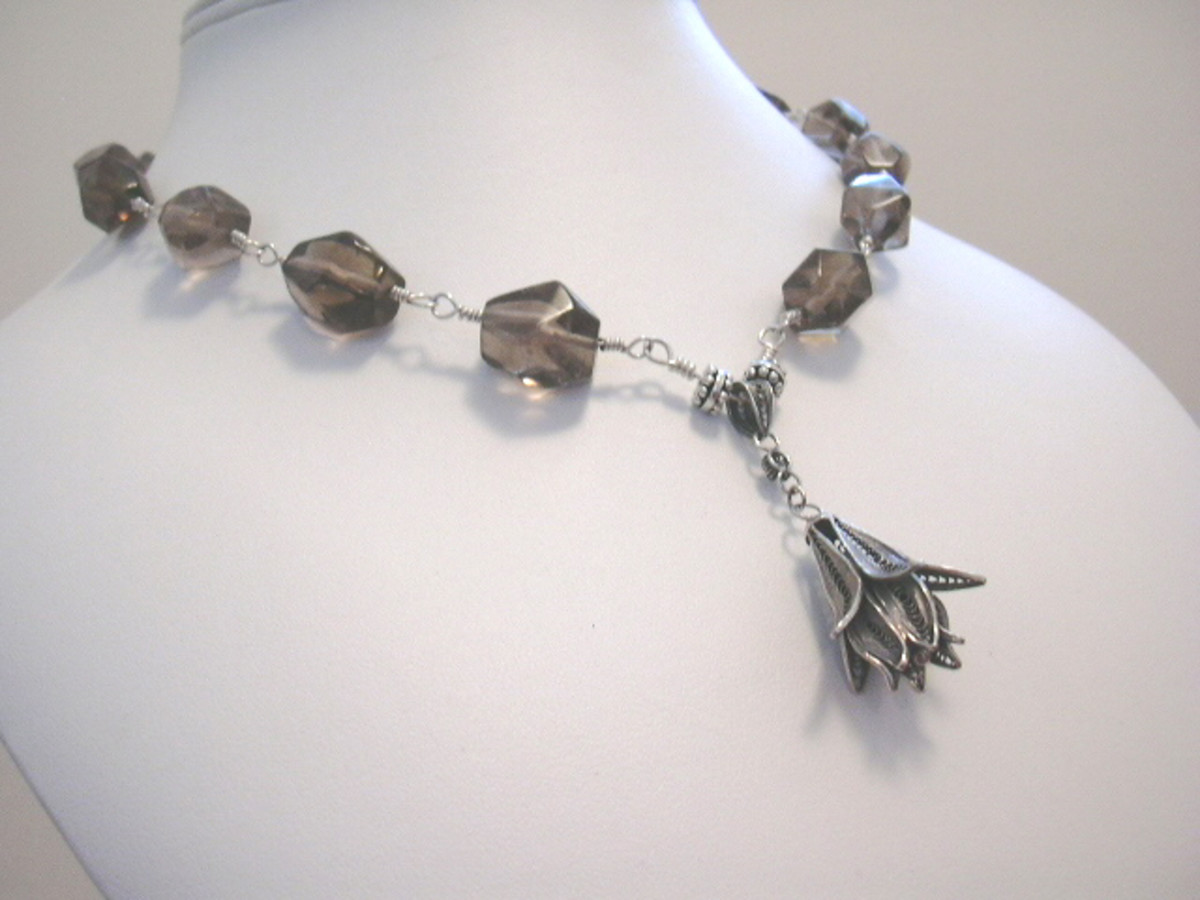 Dangling Bali silver orchid flower wire wrapped necklace with faceted smoky quartz nuggets (heat-treated)