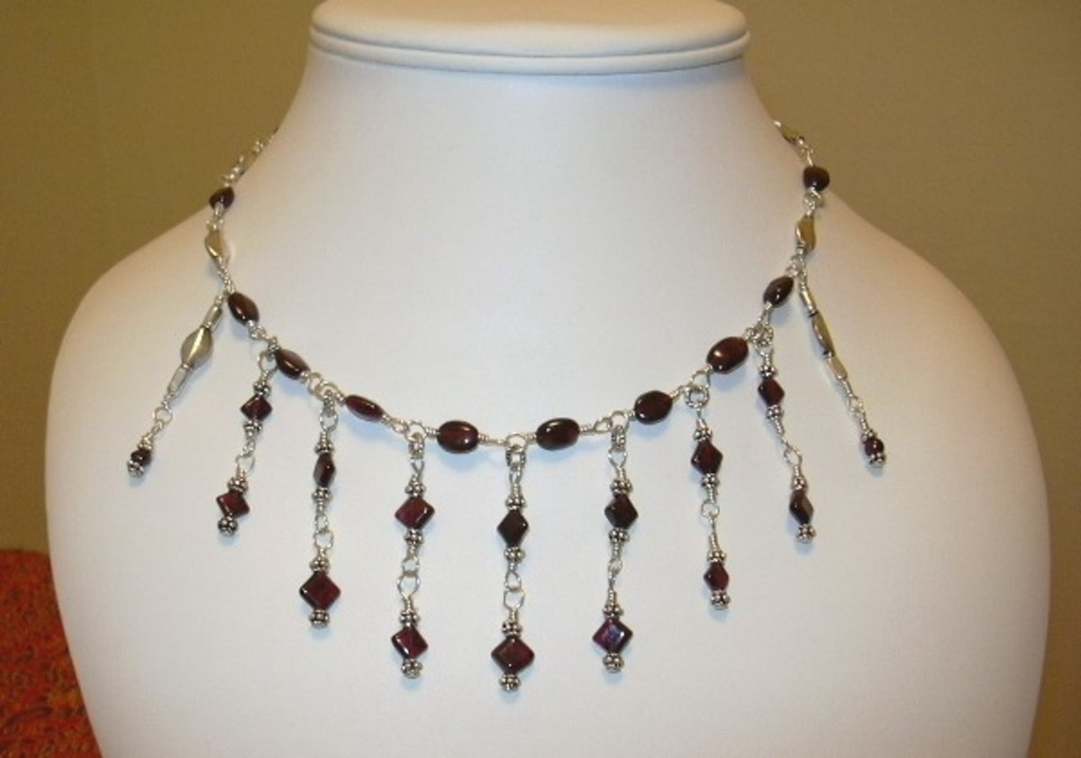 Garnet and sterling silver wire wrap fringe necklace