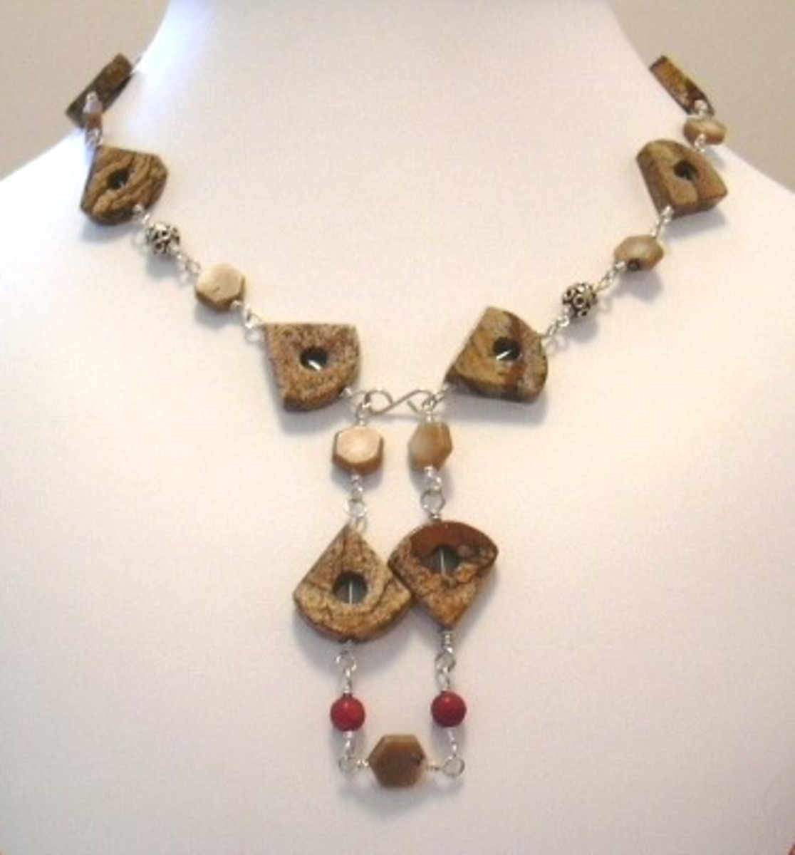 Picture jasper and sterling silver wire wrap necklace