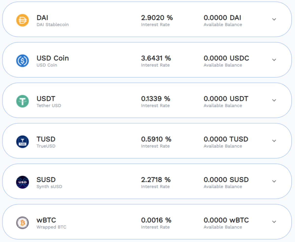 The supported assets of the Earn feature