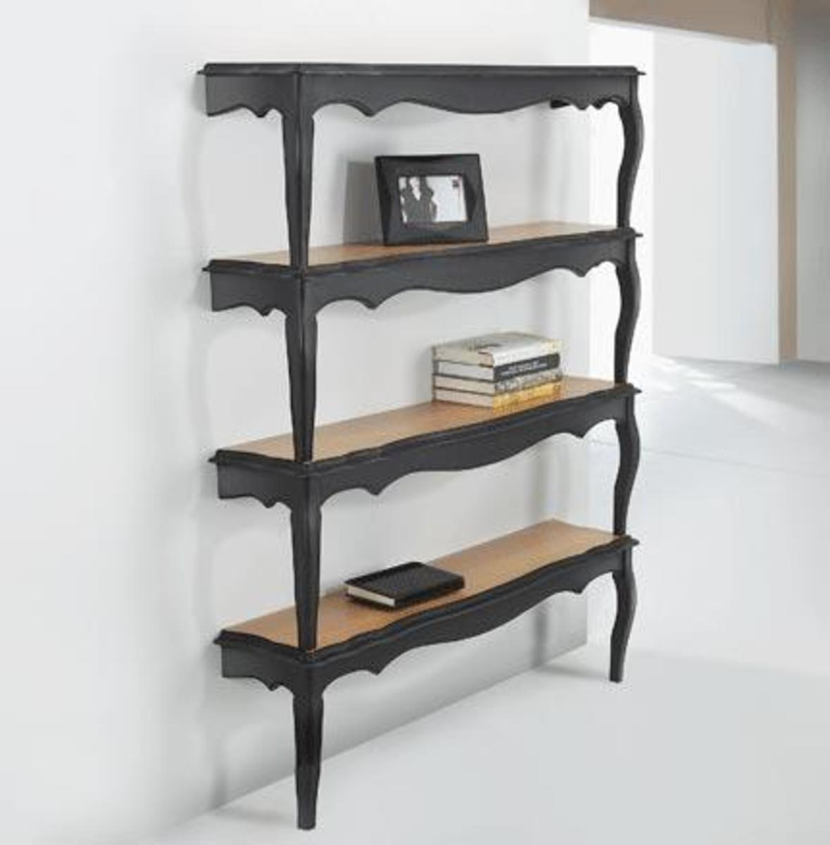 These upcycled tables have become shelves! A very cool upcycled furniture idea!