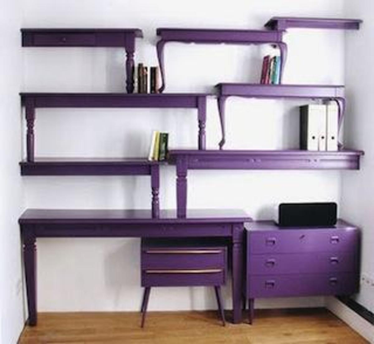 This is an excellent example of a totally unique piece of upcycled furniture. Notice how it's a bold statement, but very utilitarian at the same time!