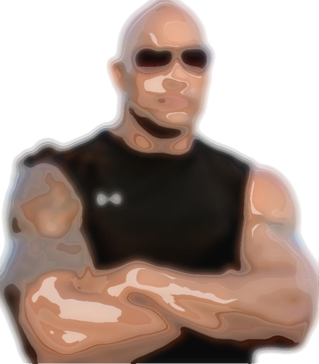 Dwayne Johnson ASCII picture with liquid blur effect.