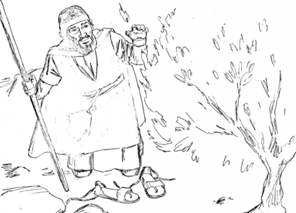 Moses bible study for kids for Burning bush coloring page