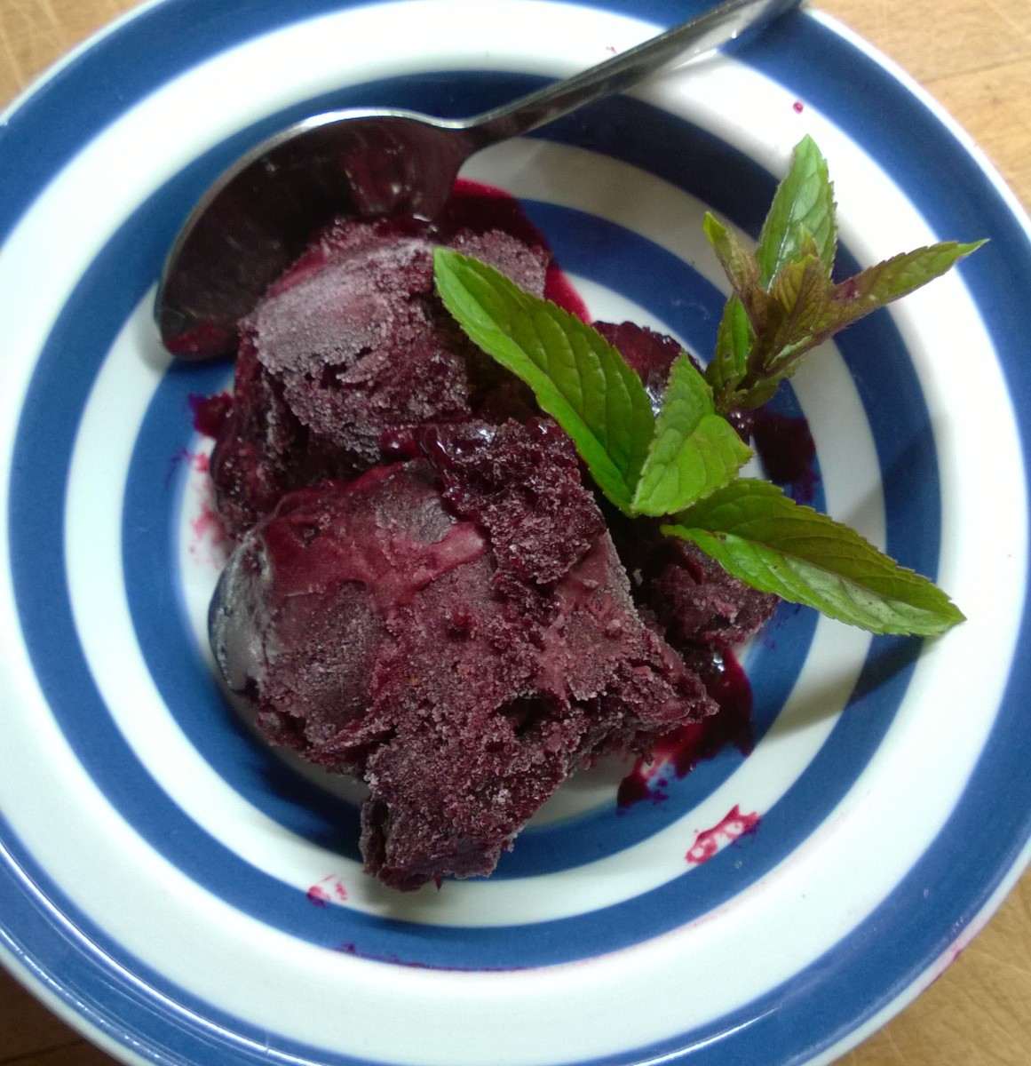 Blackcurrant sorbet with peppermint