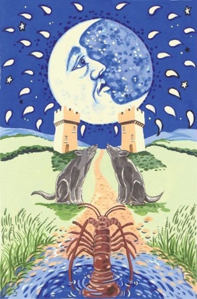 The Moon card is related to the astrological sign Cancer. The 4th sign of the zodiac is known for mood-shifts, flirtatious charisma, nurturing ways, and creativity.