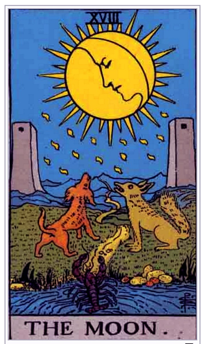 The Moon card is about your unconscious mind. You're encouraged to look into your deepest fears. Unprocessed trauma could be making rude appearances during your waking life.