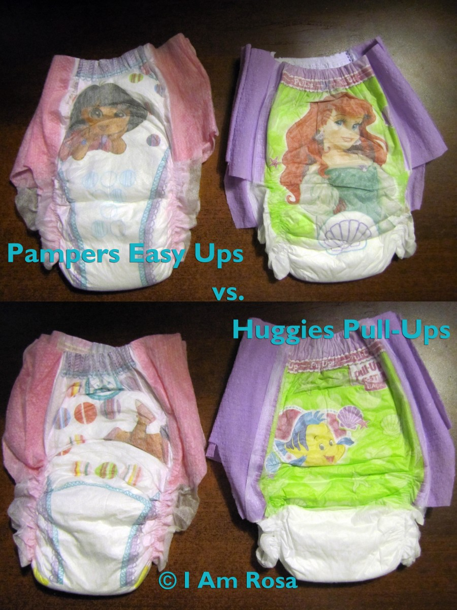 Front and back views of both diapers