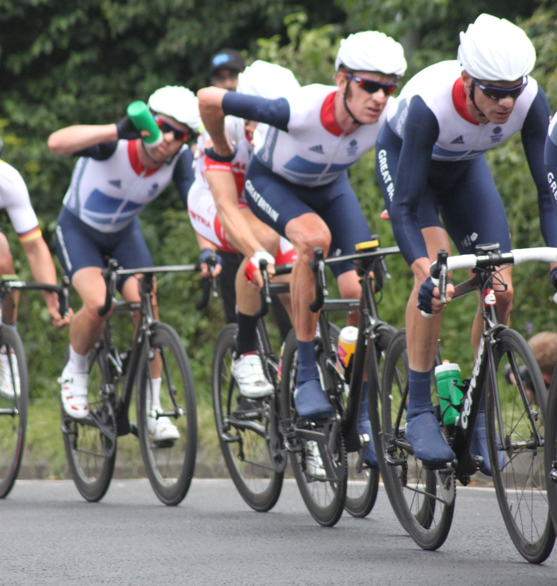 Mark Cavendish in his usual position at the end of his sprint train. Pictured at the London 2012 Olympic Road Race