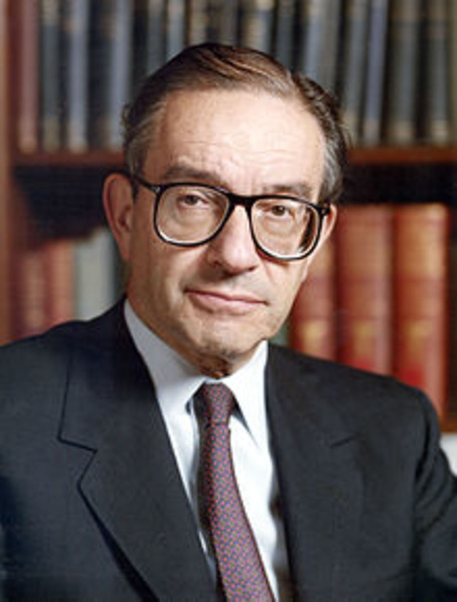ALAN GREENSPAN, FORMER CHAIRMAN OF THE FEDERAL RESERVE-AFTER DEREGULATION, MOST RESPONSIBLE GOVERNMENT OFFICIAL FOR THE RECESSION BY IGNORING ALL OF THE WARNING SIGNS OF IMPENDING DOOM