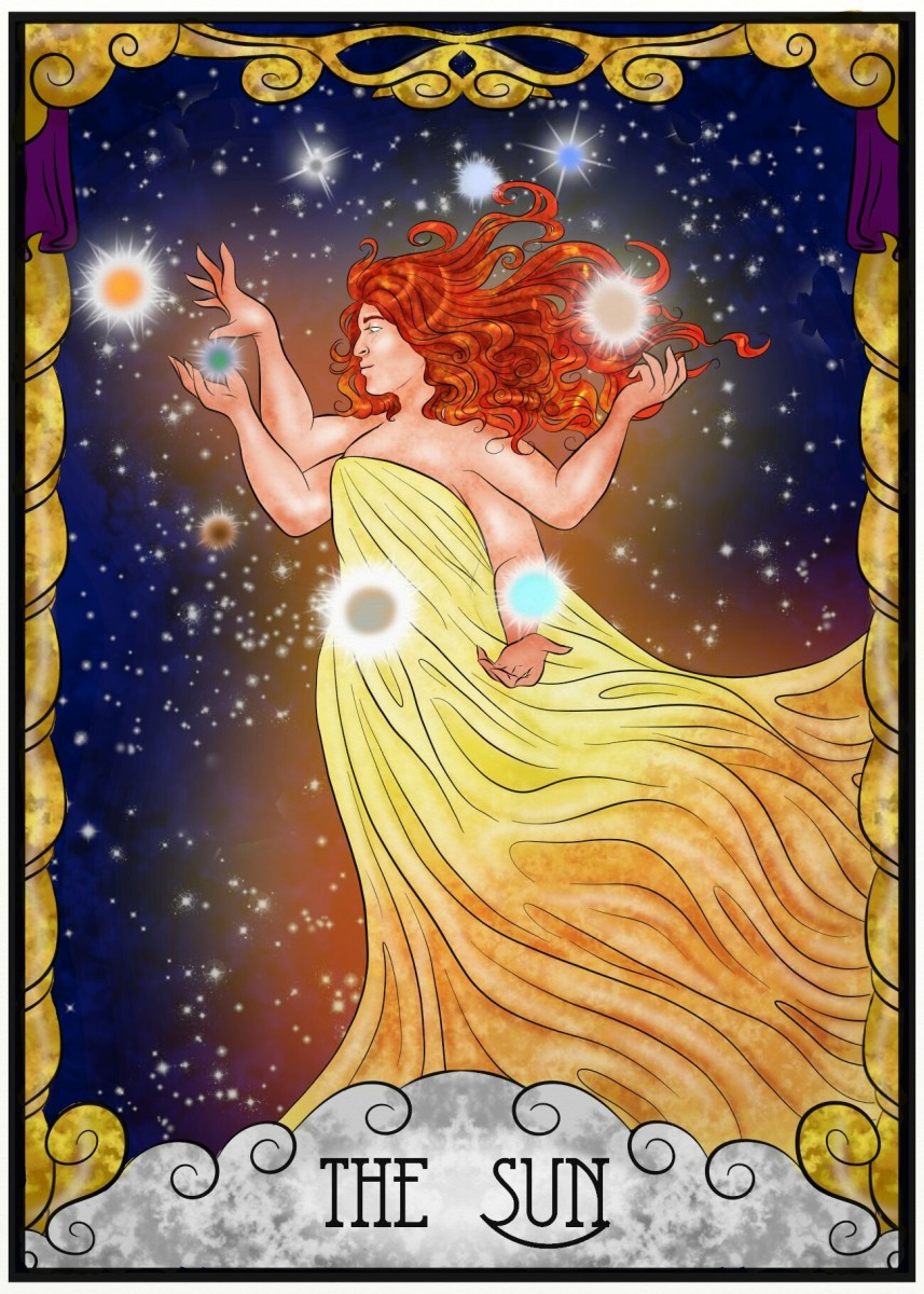 The Sun is one of the most positive cards in Tarot. It's about feeling accomplished and balanced. The Sun card shows a mastery of the elements. It means you have lowered your ego to heighten your wisdom.