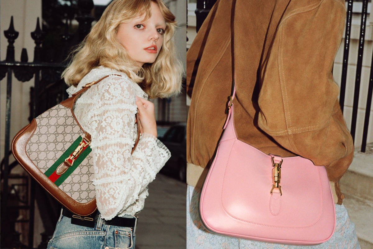 Gucci Jackie in GG Supreme Canvas and Pink Leather