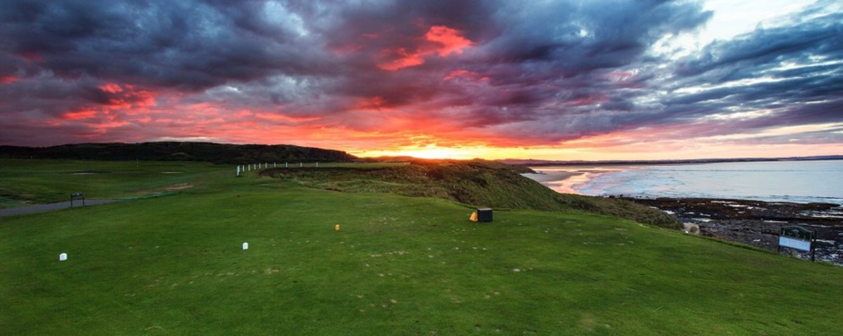 Evening on the first tee at Bamburgh Castle Golf Course, overlooking the North Sea