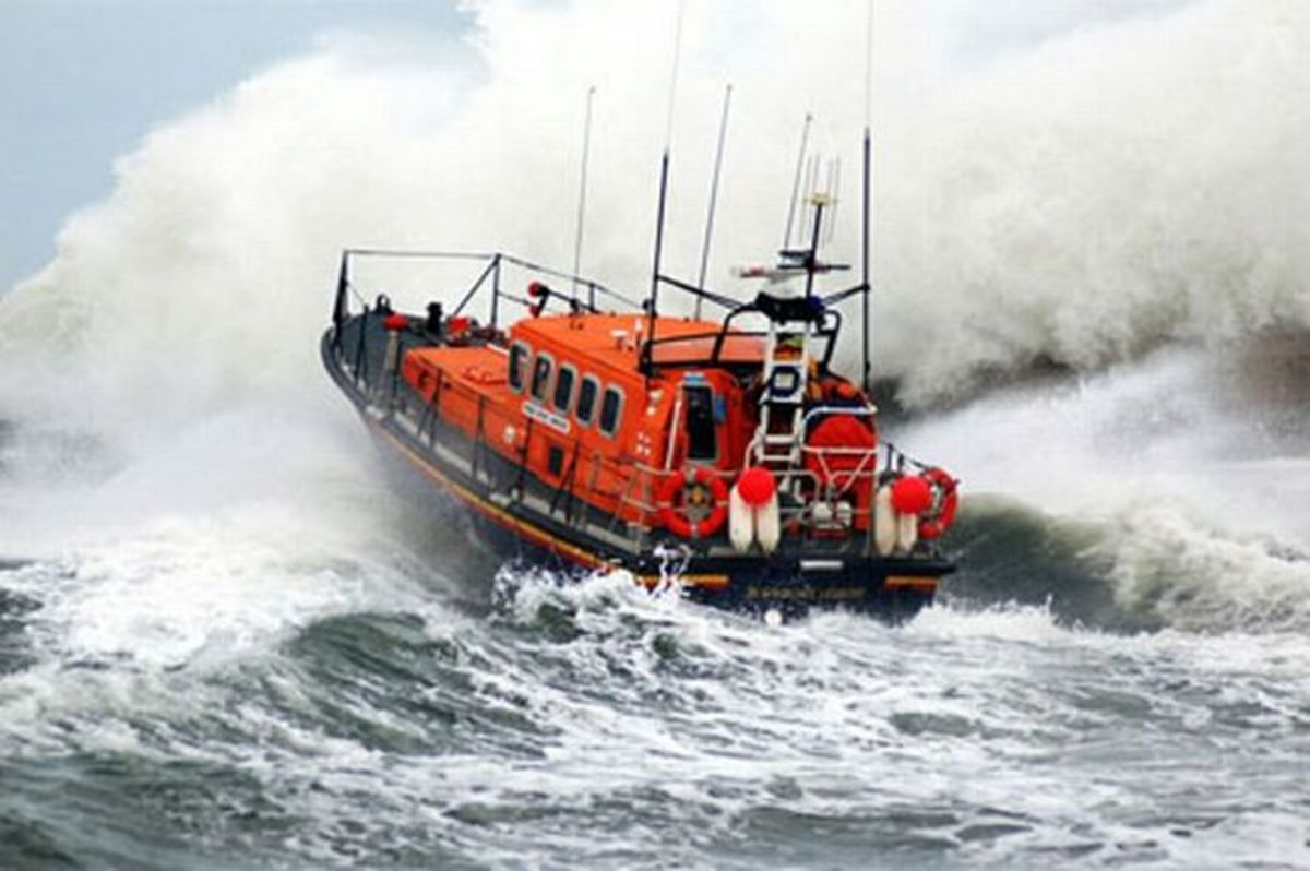 Seahouses RNLI lifeboat launching into the North Sea - the coastal currents between the Forth and the Humber are notorious