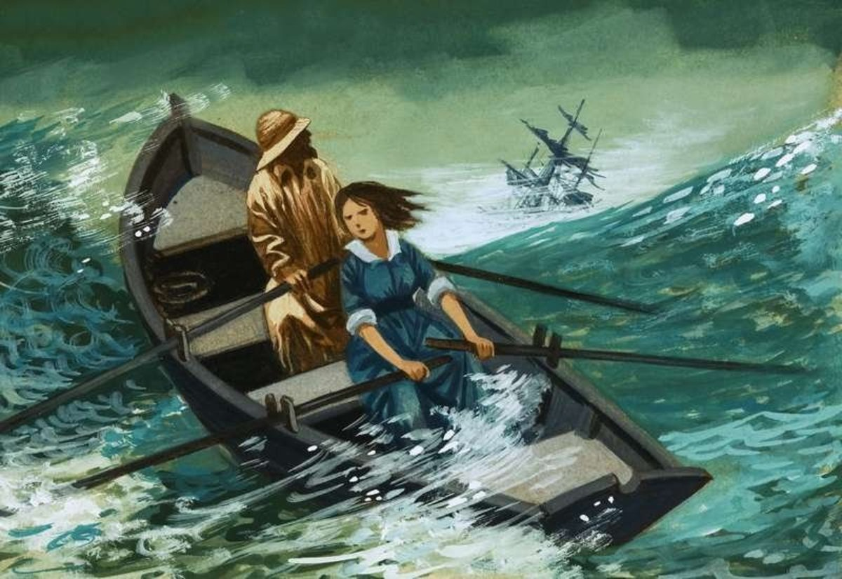 Grace Darling in one of many Victorian paintings, rowing with her father to rescue passengers and crew of the 'Forfarshire' in 1838. She died at the age of 27 from TB in 1842.