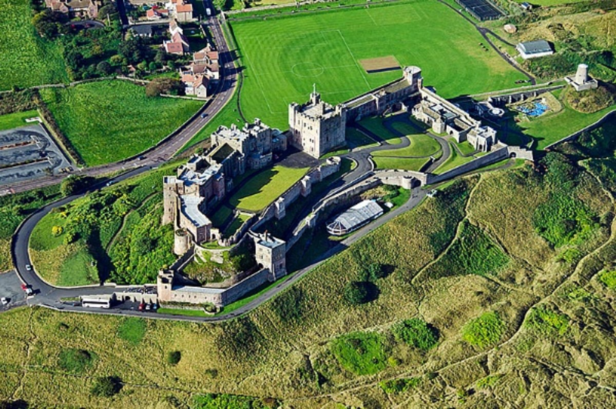 afternoon view of Bamburgh Castle from the air