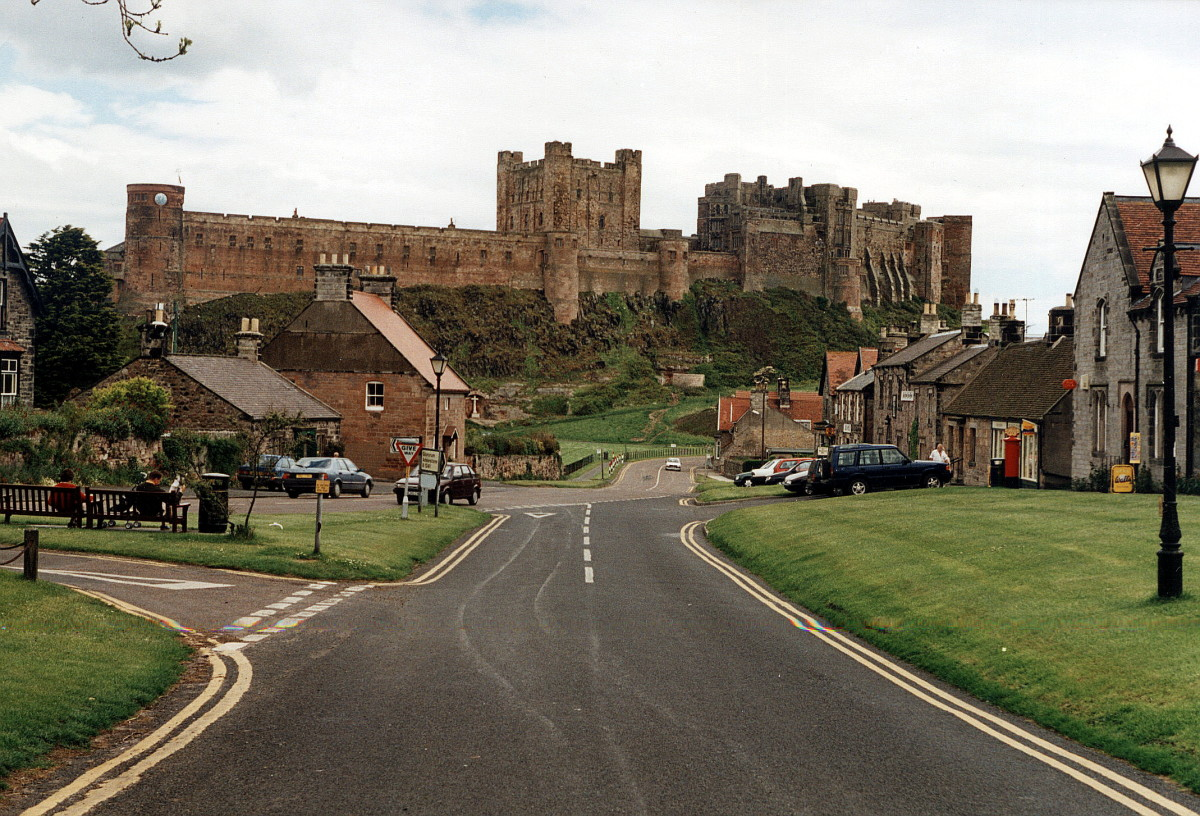Bamburgh Castle from the village looking along the B1342
