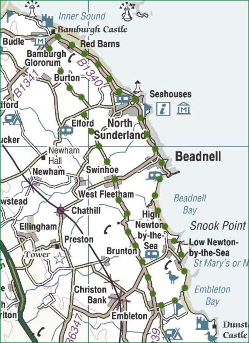 Cycle route by Bamburgh to Low Newton-by-the-Sea and back by Beadnell and Seahouses
