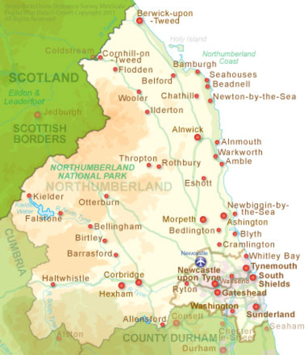 Map of the historic county of Northumberland, once part the Anglian kingdom of Bernicia with County Durham before joining with Deira (Yorkshire) in the 7th Century