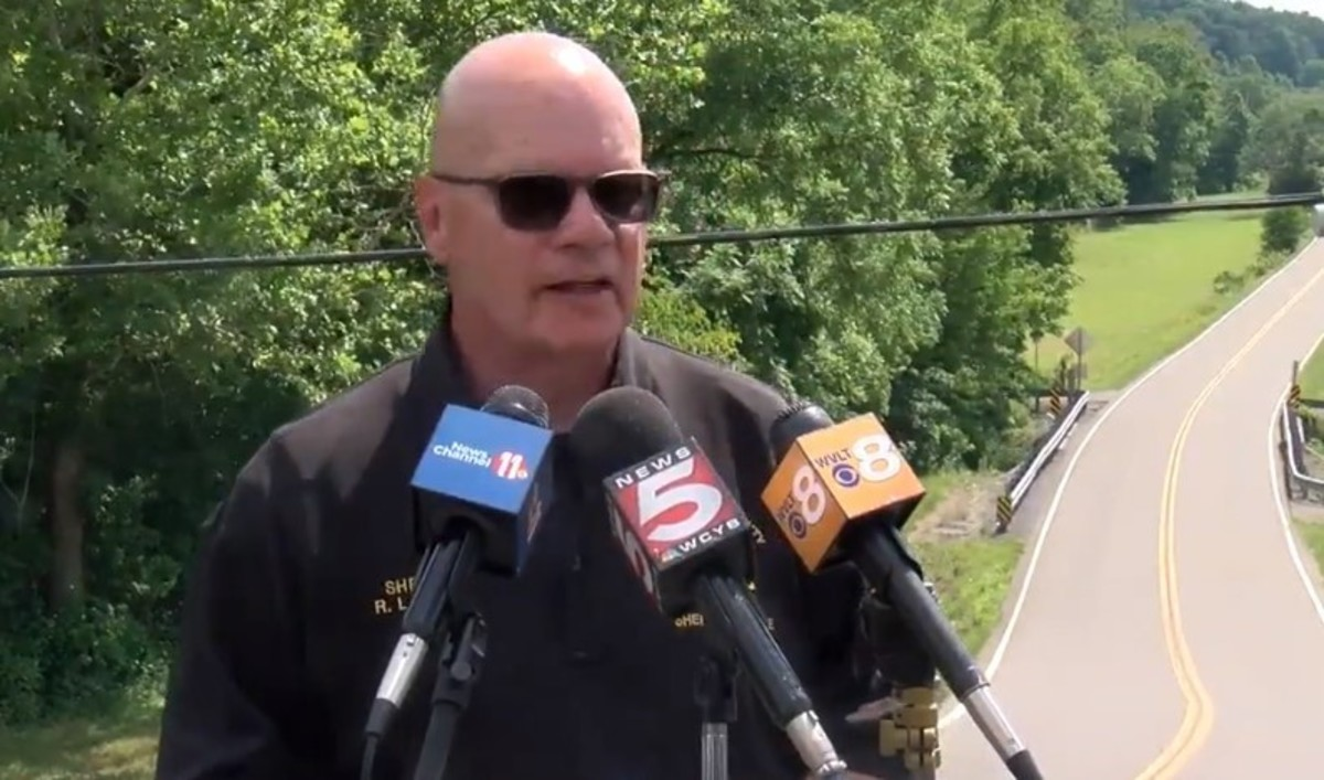 Hawkins County Sheriff Ronnie Lawson speaks out about social media at a press conference on June 24, 2021. Photo courtesy of WCYB News.