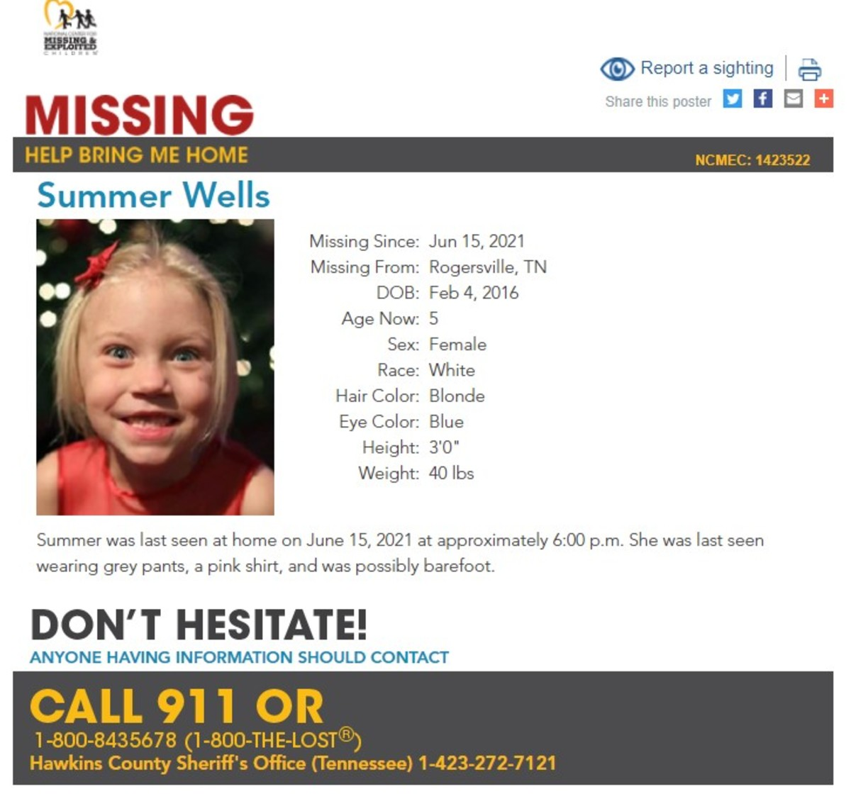 Summer Wells is listed as missing with the nonprofit group National Center for Missing & Exploited Children. Photo courtesy of NCMEC.