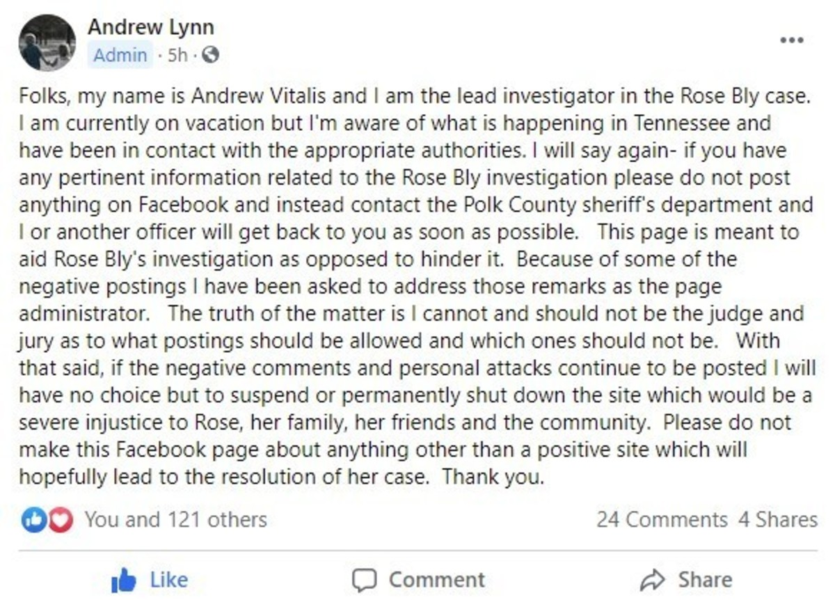 Lead Investigator of Polk County Sheriff posted on Facebook asking people to stop making negative comments. Photo courtesy Facebook.