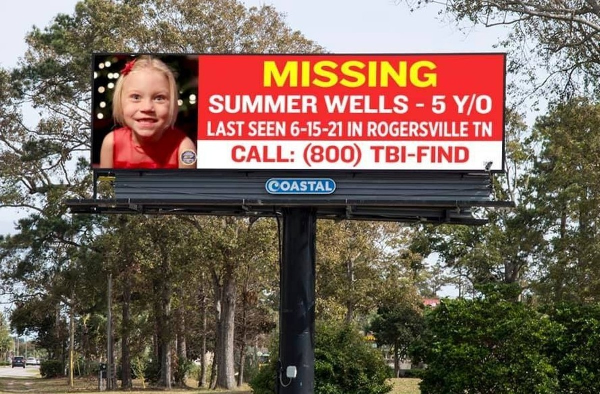 Digital billboard created by Coastal Outdoor Advertising who are donating space to assist with the investigation into the disappearance of Summer Wells. Photo courtesy of WCYB News.