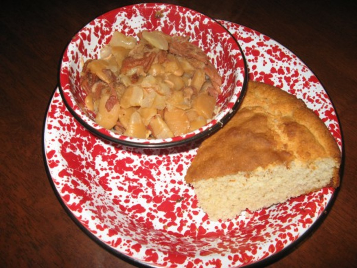 lima beans and ham with crackling cornbread