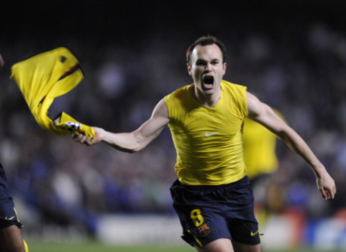 Andreas Iniesta celebrating his goal after scoring the decisive equalizer against Chelsea in 2009.