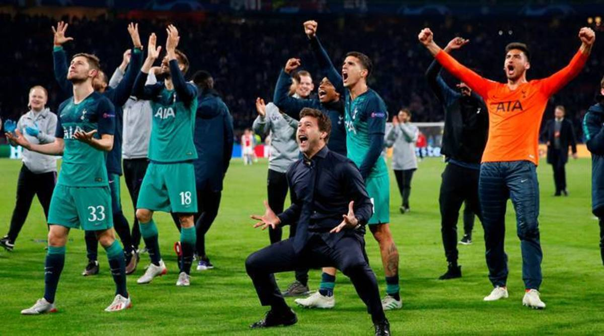 Then Tottenham manager, Mauricio Pochettino, celebrating with his team after qualifying for the UEFA Champions League Final in 2019.