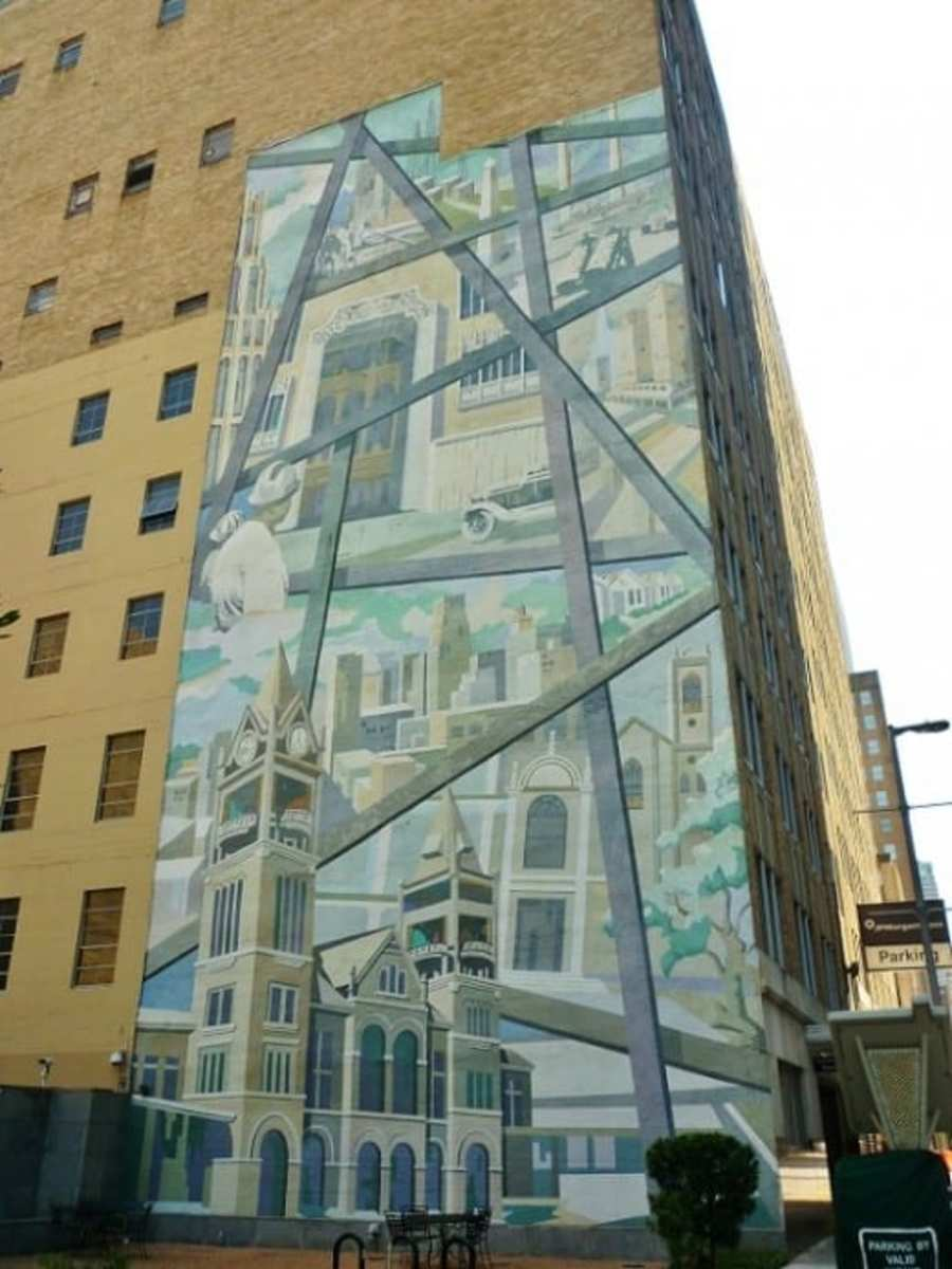One last look at the Suzanne E. Sellers mural on the Houston Club Building that no longer exists.