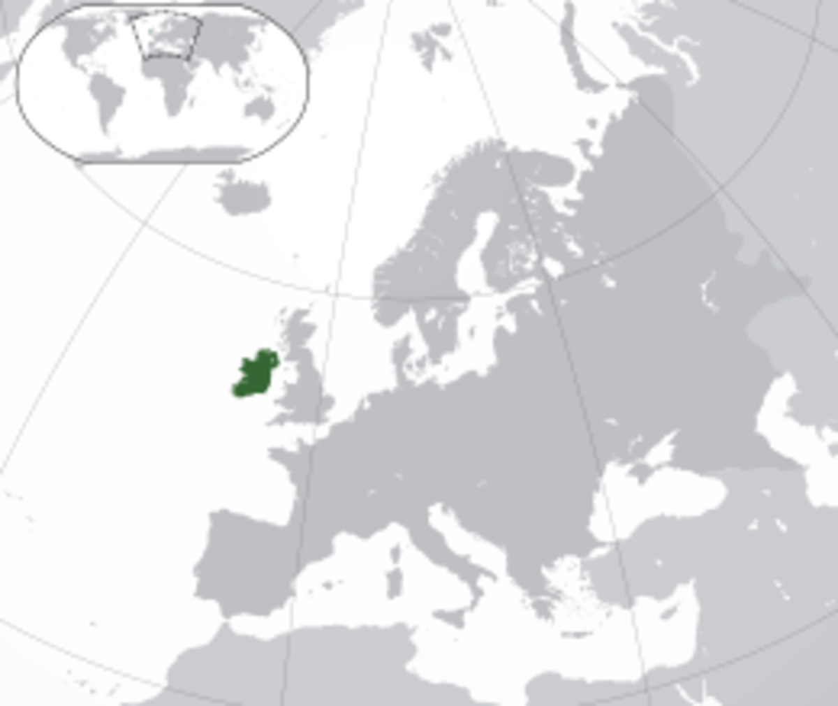 Location of Ireland in Europe