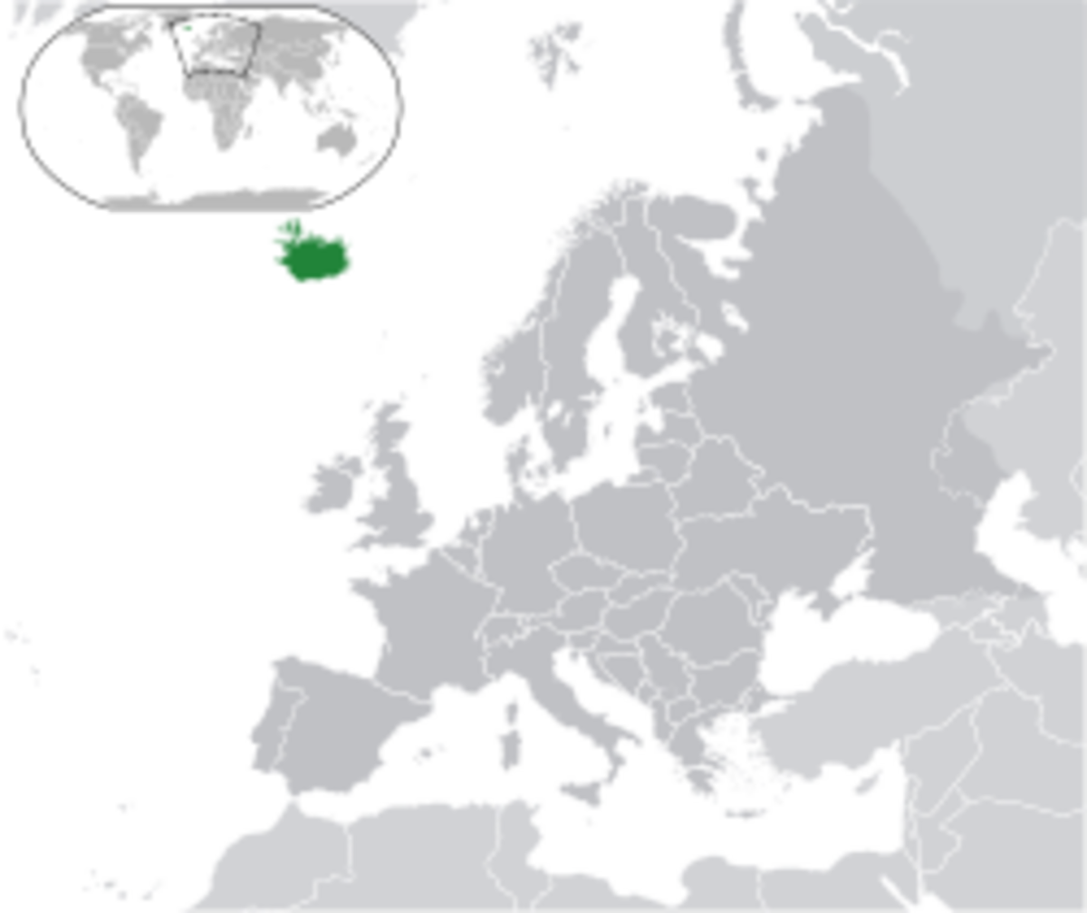 Location of Iceland in relation to the rest of Europe