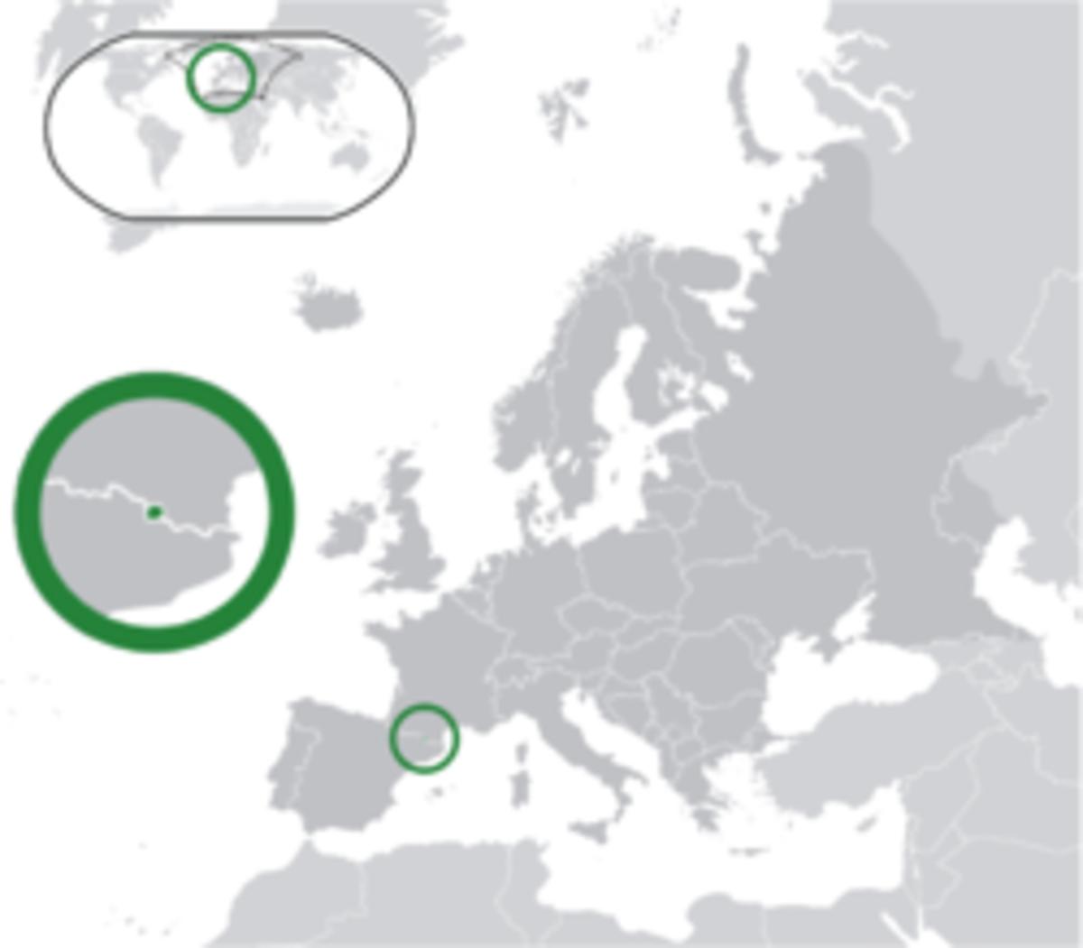 Location of Andorra in Europe