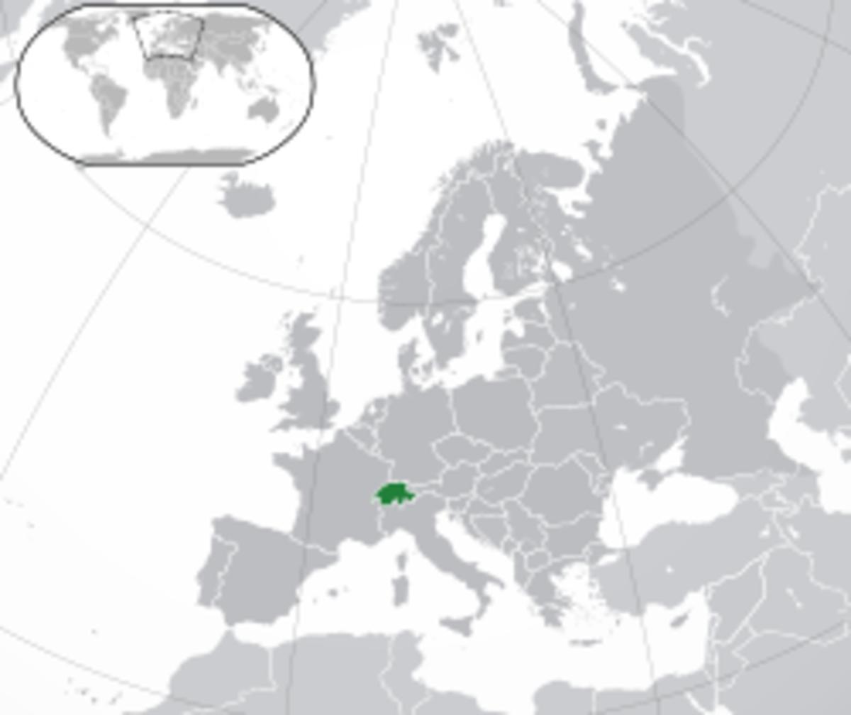 Location of Switzerland in Europe
