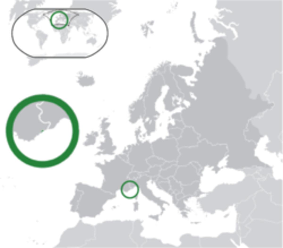 Location of Monaco in Europe