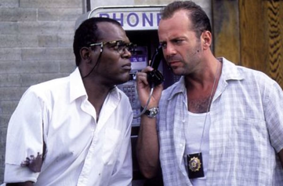 """Samuel L. Jackson (left) reunites with his """"Pulp Fiction"""" co-star in """"Die Hard With A Vengeance"""""""