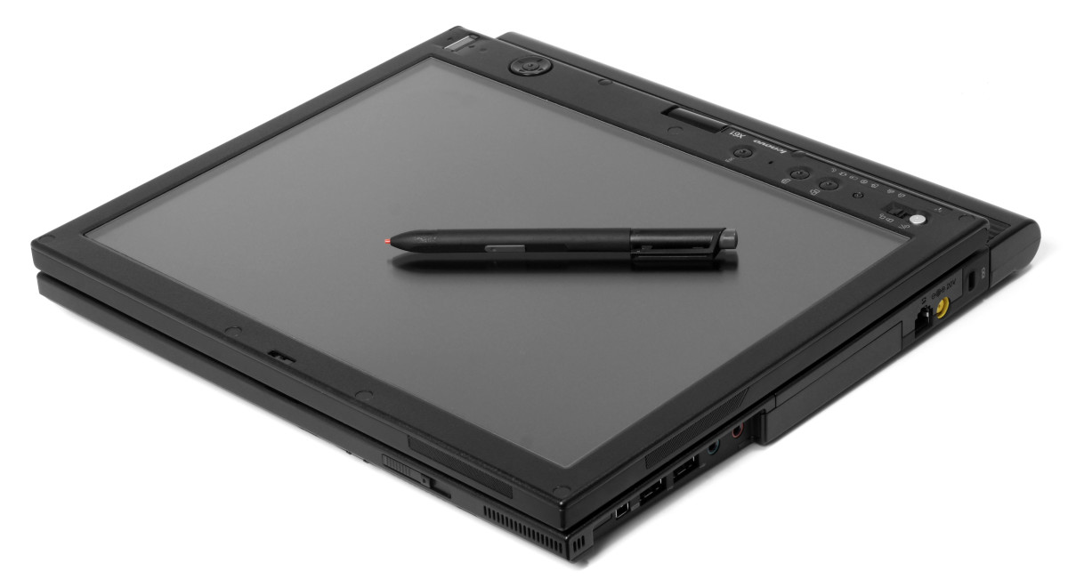 The same Lenovo Think Pad when folded up.  It fits neatly in a briefcase, purse or handbag.
