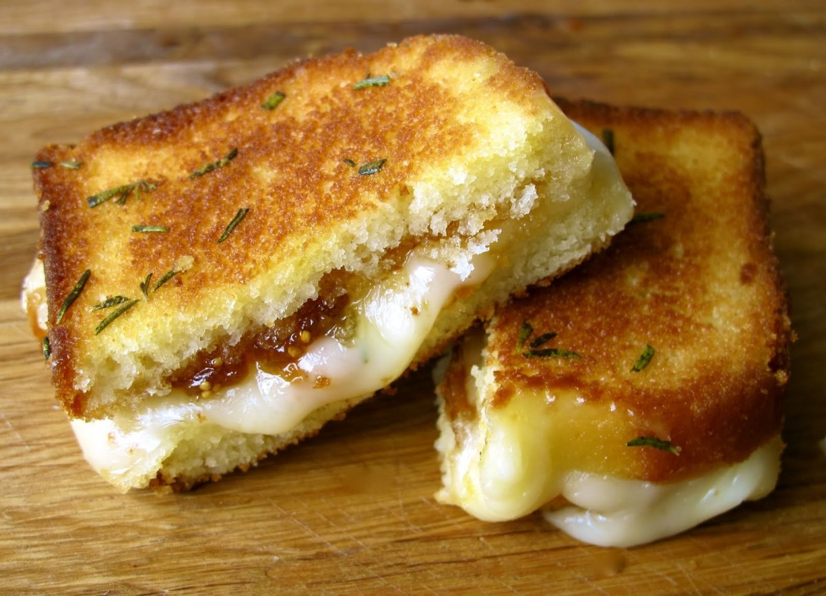 Pound Cake Grilled Cheese With Brie, Fig Jam, and Rosemary Butter